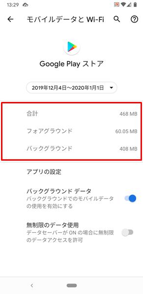 Wi-Fiデータ使用量10